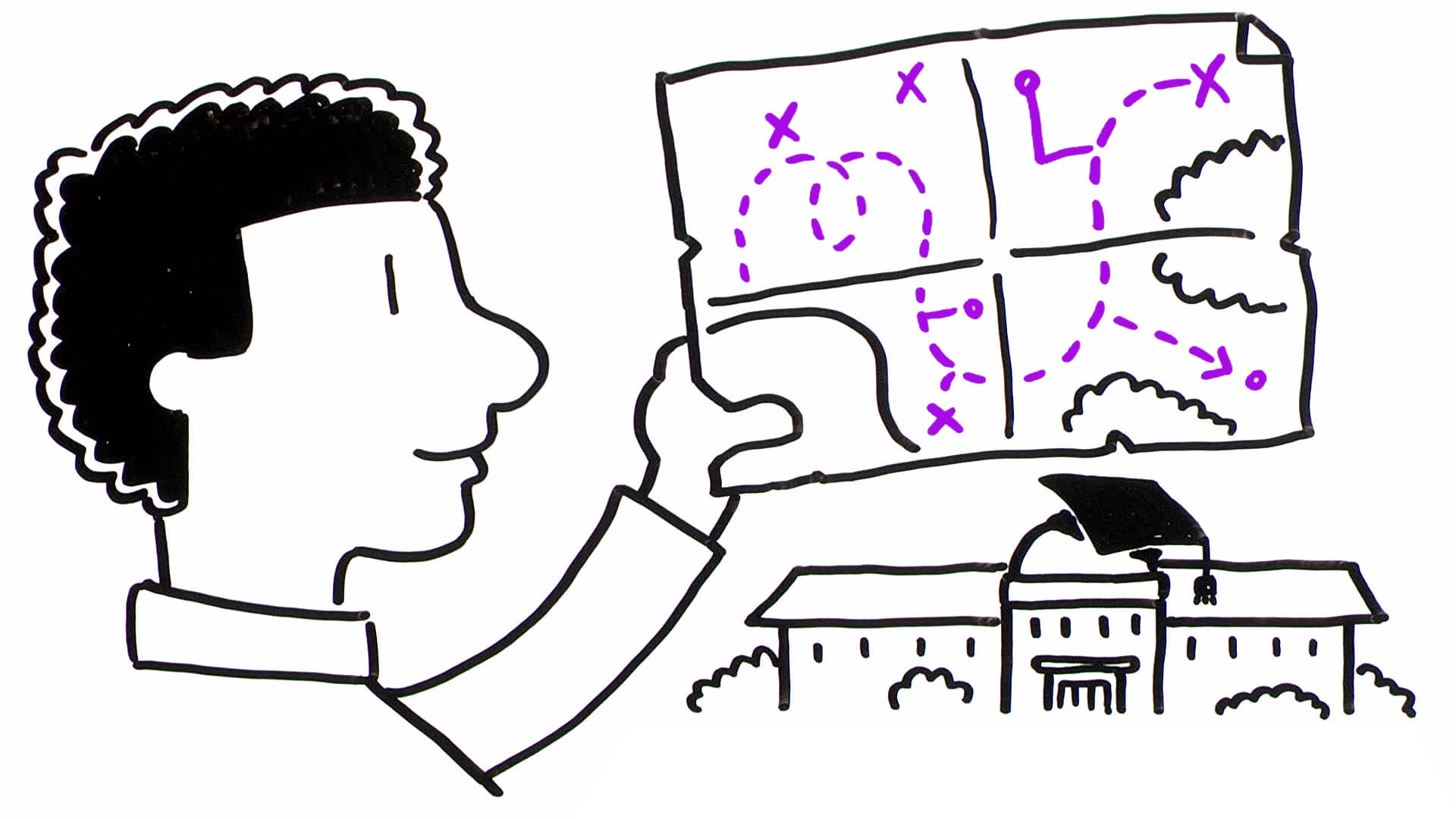 Illustration of a person looking at a map of career options with an institution of high education in the background